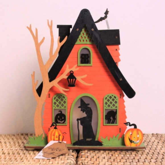 Cool New Halloween Wood Light Up Witchs House Decor Nwt Download Free Architecture Designs Rallybritishbridgeorg